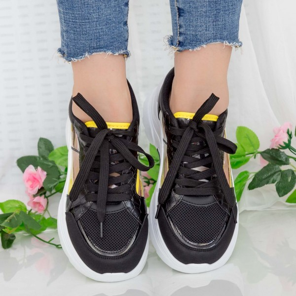 Pantofi Sport Dama cu Platforma GB78 Black Mei