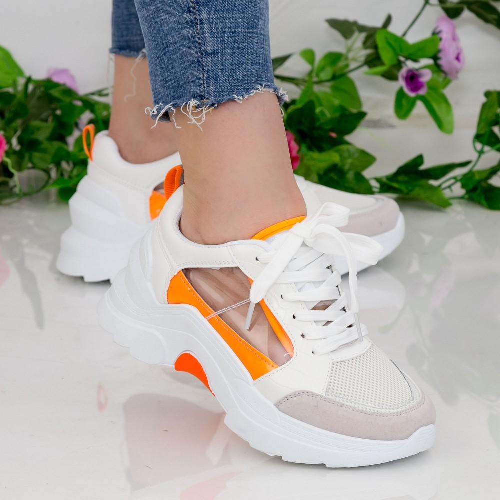 Pantofi Sport Dama cu Platforma GB78 White-Yellow Mei