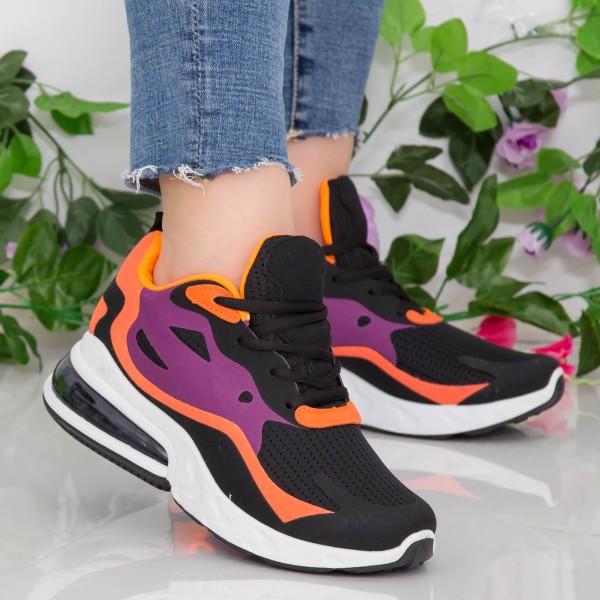 Pantofi Sport Dama cu Platforma GB79 Black-Orange Mei