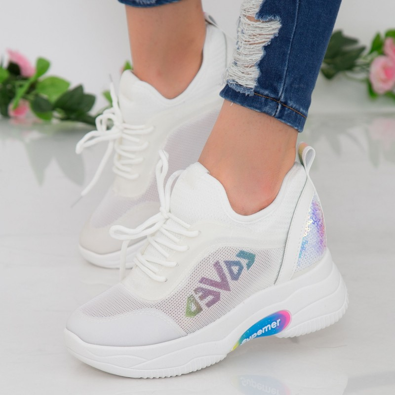 Pantofi Sport Dama cu Platforma NX101 White Mei