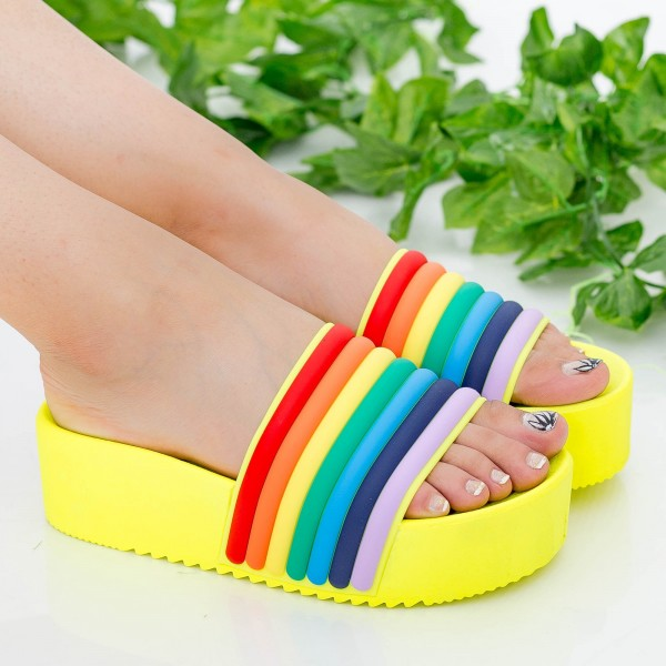 Papuci Dama cu Platforma M49 Yellow MyU