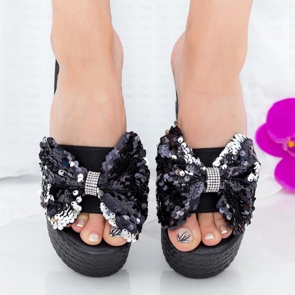 Papuci Dama cu Platforma LM278 Black Mei