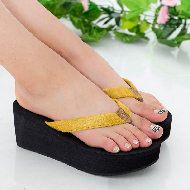 Papuci Dama cu Platforma NX1 Yellow Mei