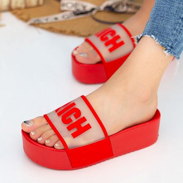 Papuci Dama cu Platforma PM33-3 Red Fashion