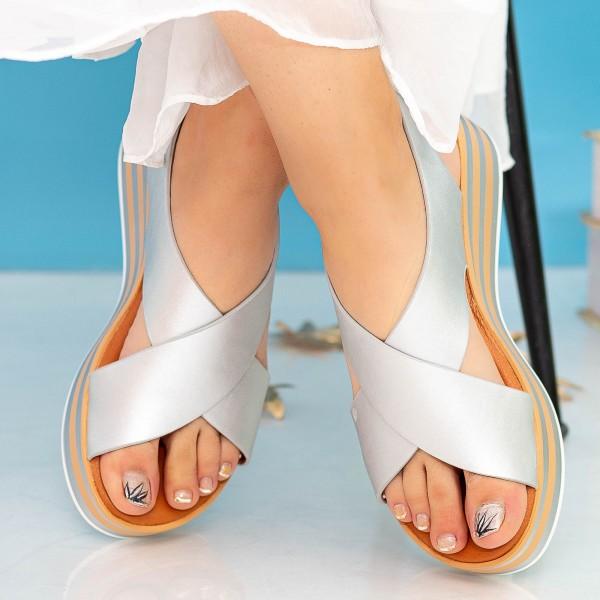 Sandale Dama cu Platforma QZL252 Silver Mei