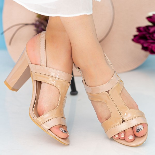 Sandale Dama cu Toc gros WT83 Khaki Mei