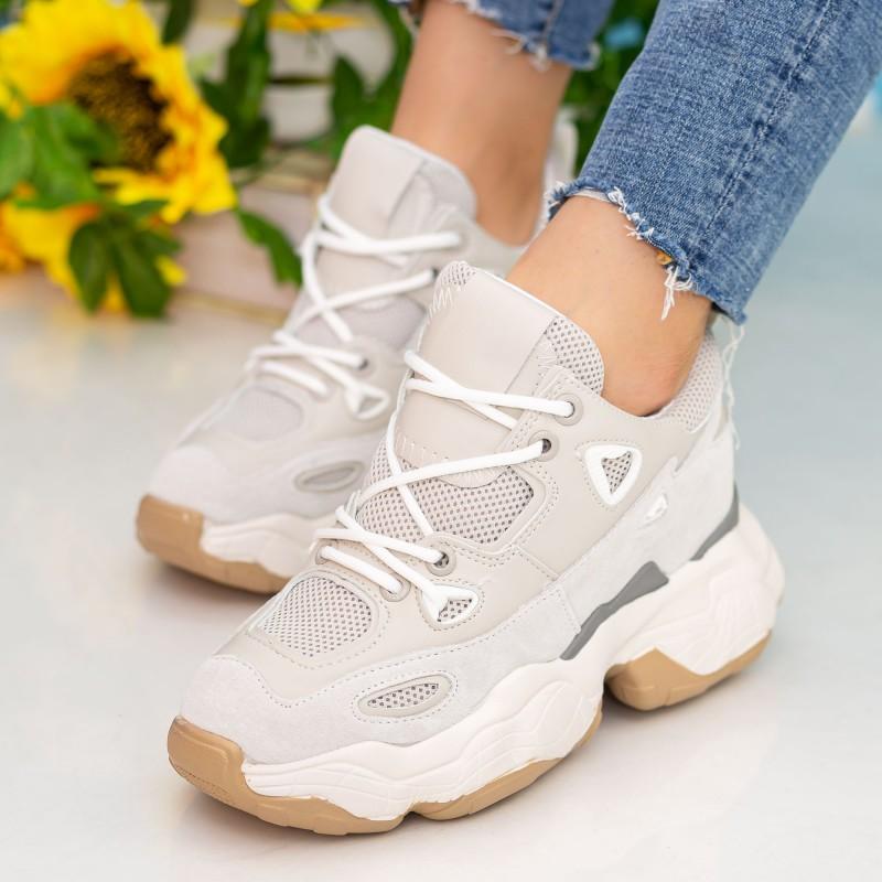 Pantofi Sport Dama cu Platforma CJL12 Beige Mei
