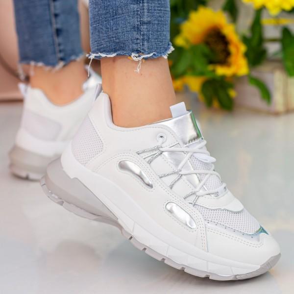 Pantofi Sport Dama YKQ206 White-Silver Mei