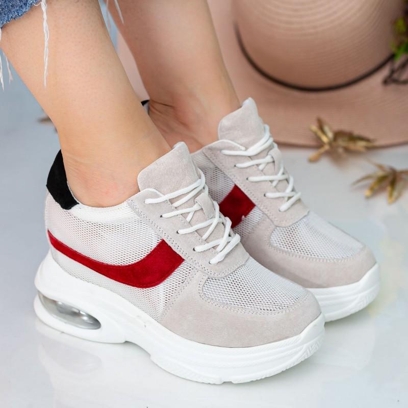 Pantofi Sport cu Platforma Dama QQ23 White Mei