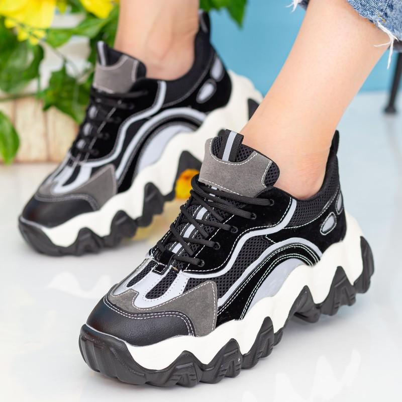 Pantofi Sport Dama cu Platforma WLXMN1 Black Mei