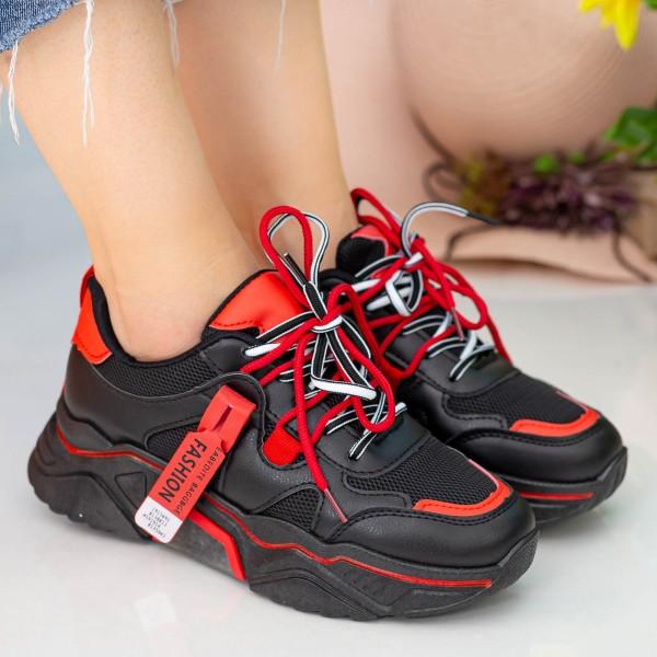Pantofi Sport Dama YKQ218 Black-Red Mei