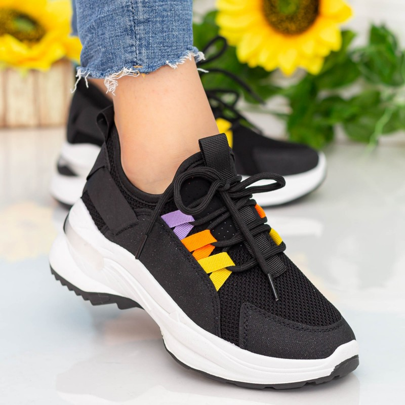 Pantofi Sport Dama cu Platforma X682 Black Se7en