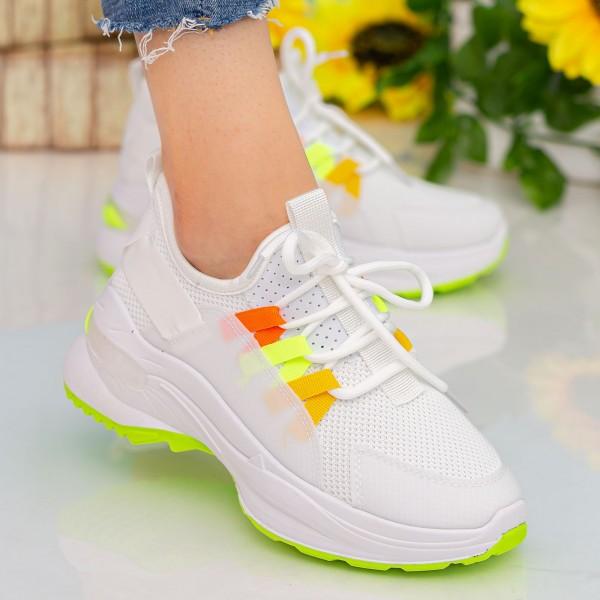 Pantofi Sport Dama cu Platforma X682 White-Green Se7en
