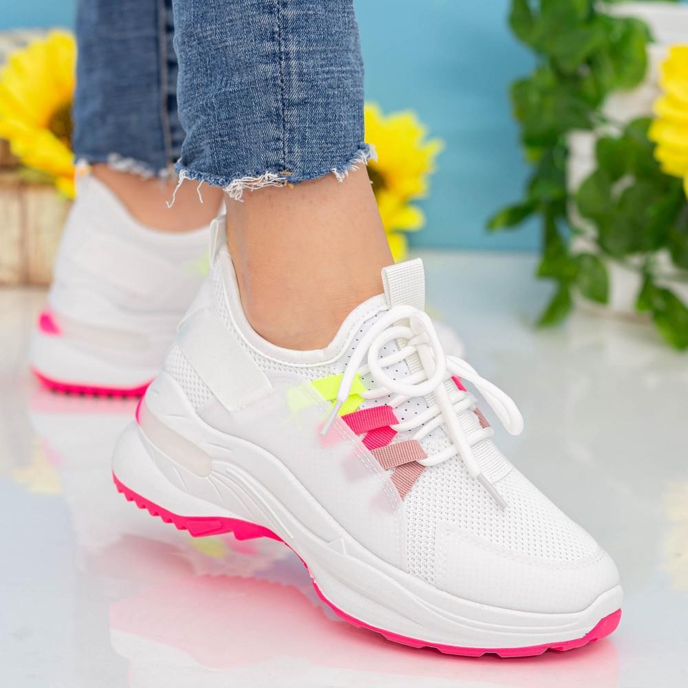 Pantofi Sport Dama cu Platforma X682 White-Rose Se7en