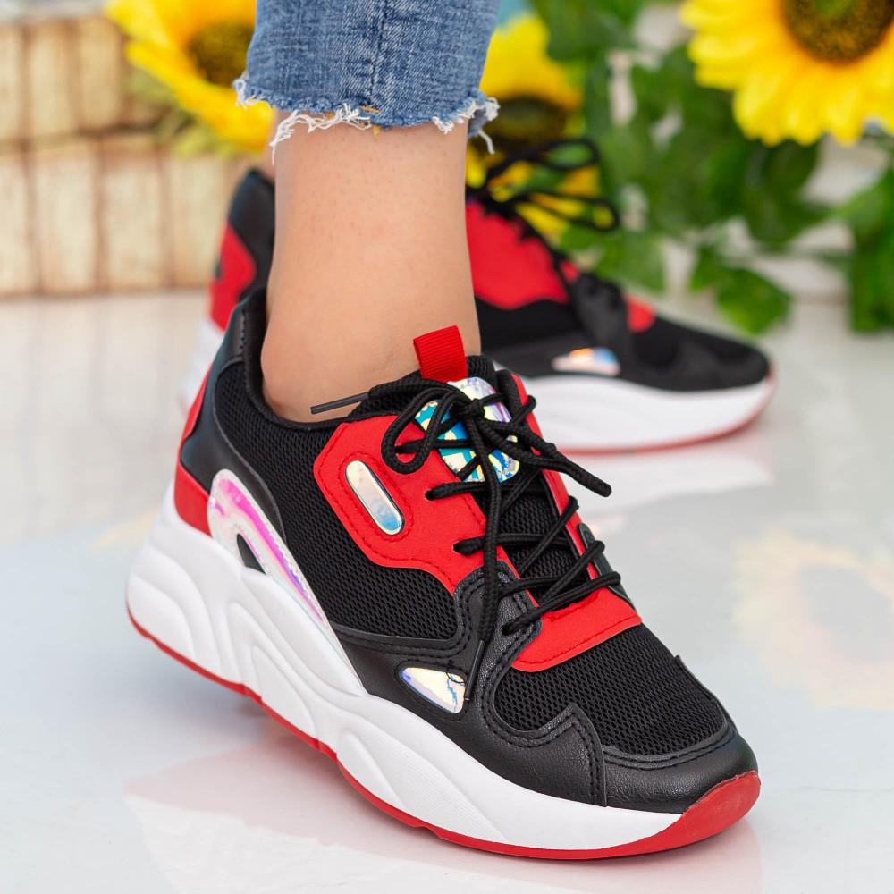 Pantofi Sport Dama cu Platforma X2898 Black Se7en