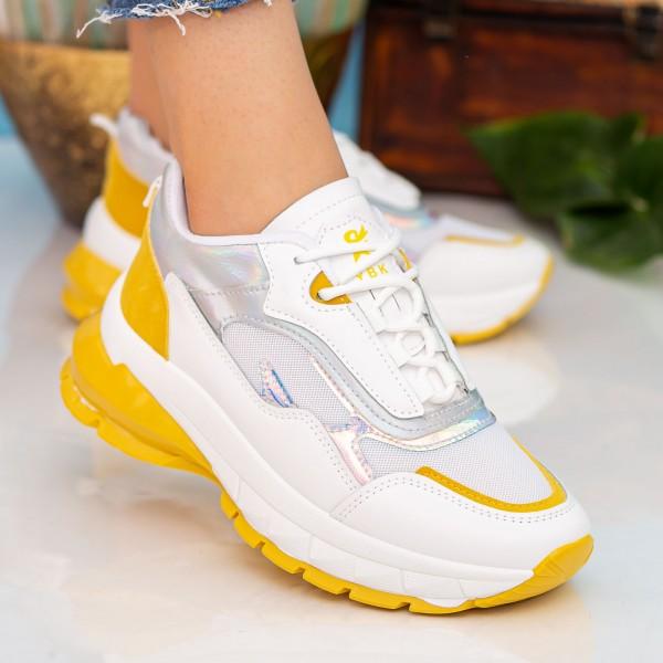 Pantofi Sport Dama cu Platforma 23-52 White-Yellow Se7en