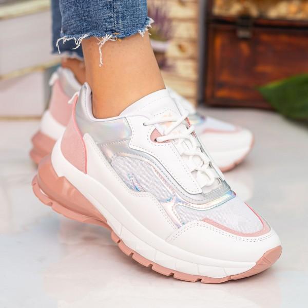 Pantofi Sport Dama cu Platforma 23-52 White-Pink Se7en