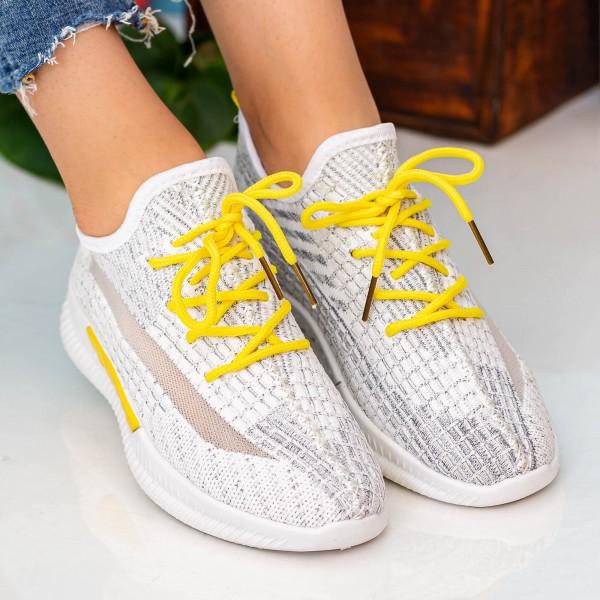 Pantofi Sport Dama X2916 White-Yellow Se7en