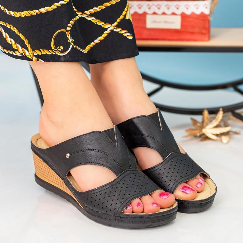 Papuci Dama cu Platforma A127 Black Desun