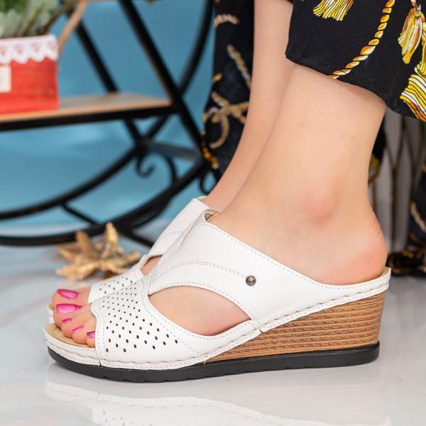 Papuci Dama cu Platforma A127 White Desun