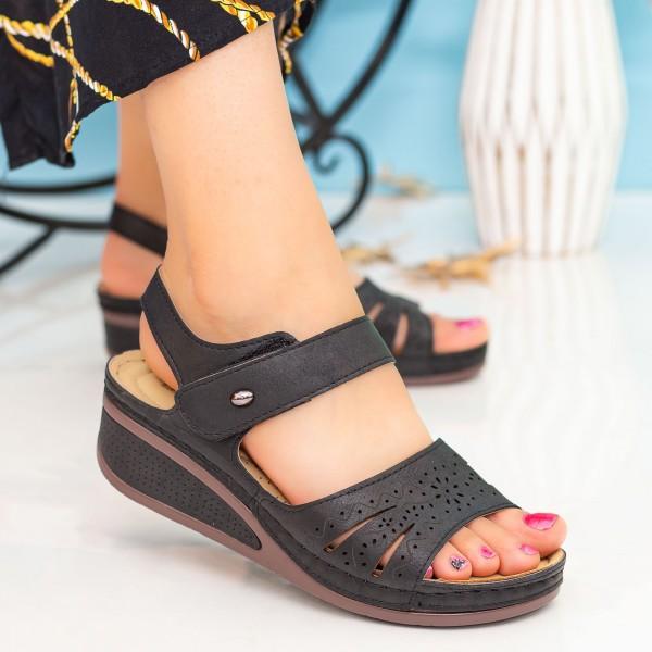 Sandale Dama cu Platforma A123 Black Desun