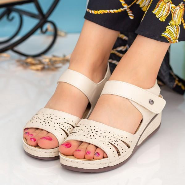 Sandale Dama cu Platforma A123 Beige Desun