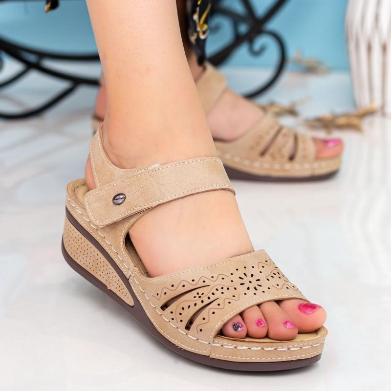 Sandale Dama cu Platforma A123 Byellow Desun