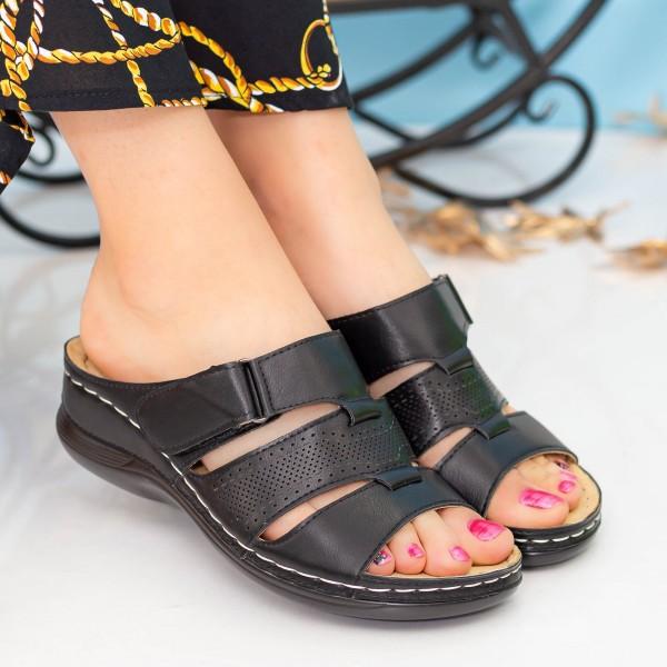 Papuci Dama 505 Black OUGE Fashion