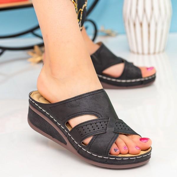 Papuci Dama cu Platforma 602 Black OUGE Fashion