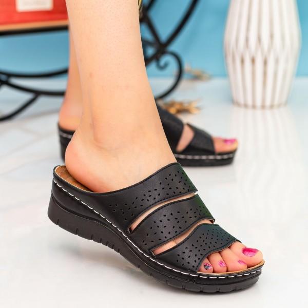 Papuci Dama 202 Black OUGE Fashion