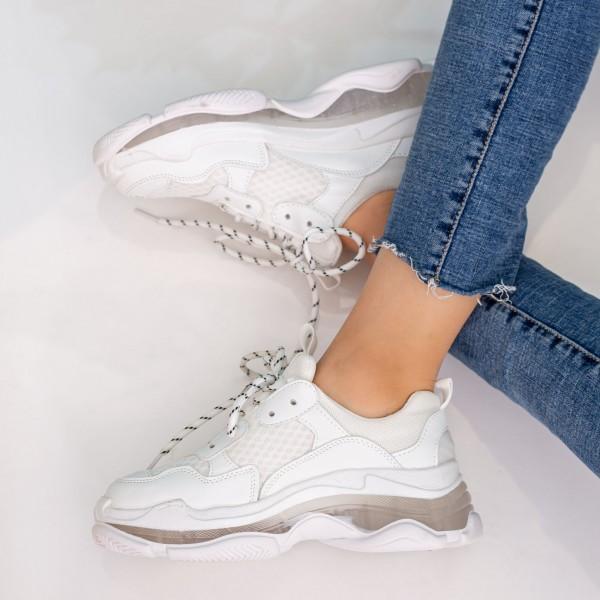 Pantofi Sport Dama cu Platforma G-7 White Mei