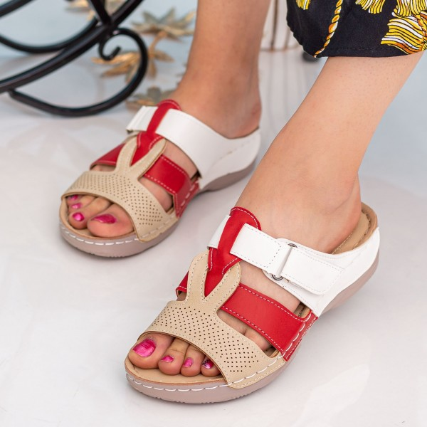 Papuci Dama A133 Beige-Red-White Fashion