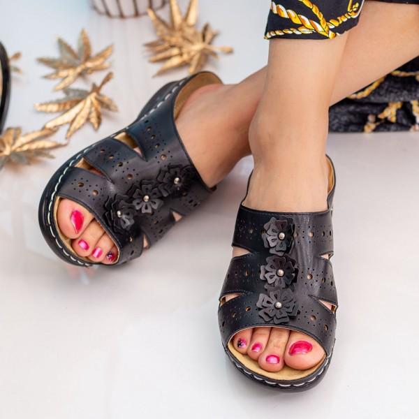 Papuci Dama 503 Black OUGE Fashion