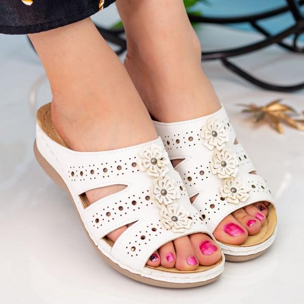 Papuci Dama 503 White OUGE Fashion