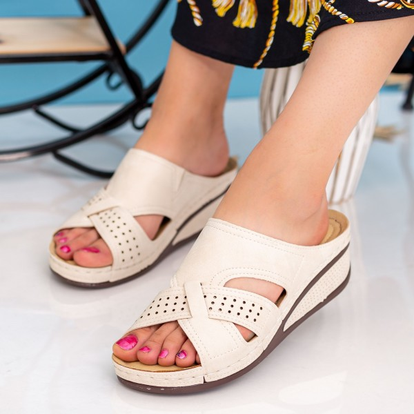 Sandale Dama cu Platforma F56 Beige Alogo