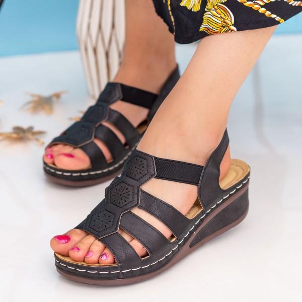 Sandale Dama cu Platforma F58 Black Alogo