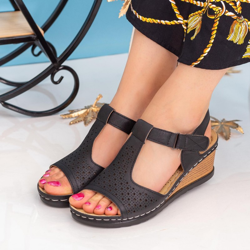 Sandale Dama cu Platforma SU122 Black Alogo