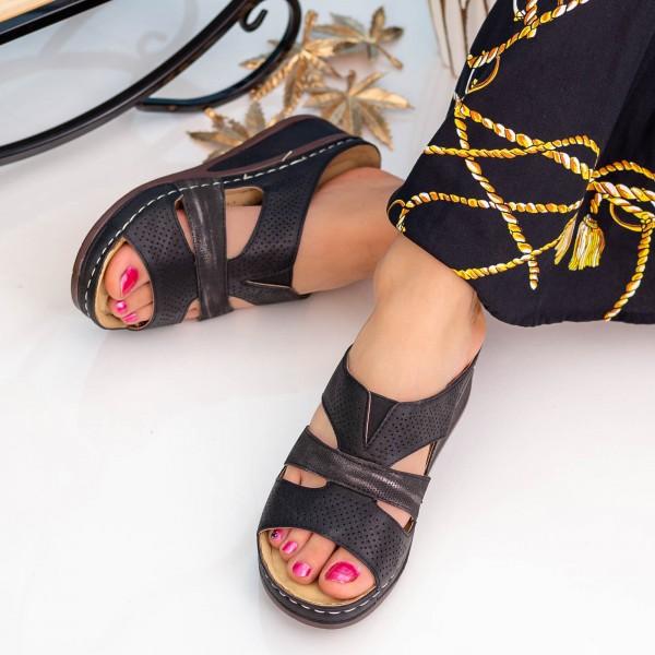 Papuci Dama cu Platforma SU116 Black Alogo