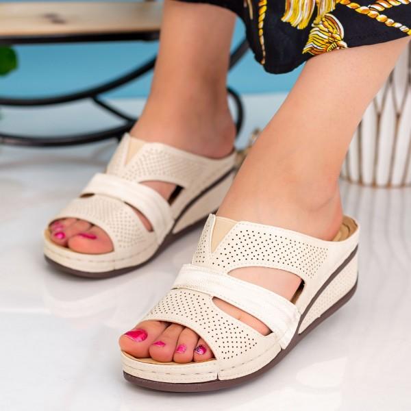 Papuci Dama cu Platforma SU116 Beige Alogo