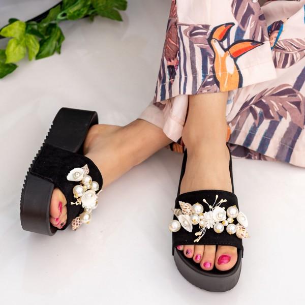 Papuci Dama cu Platforma MM51 Black Small Swan