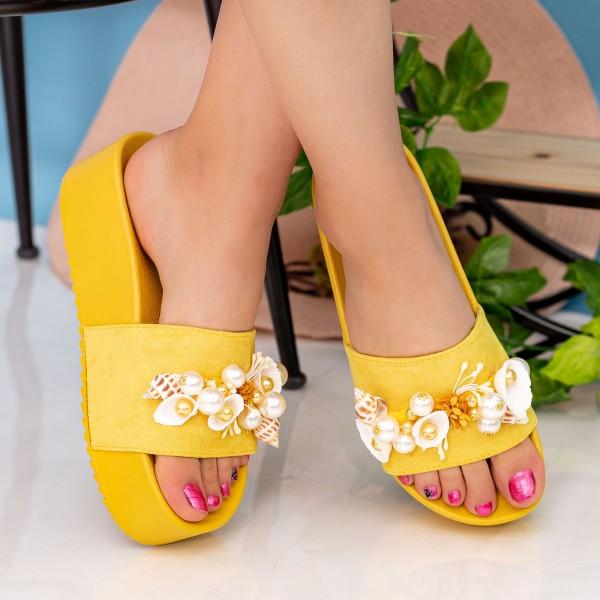 Papuci Dama cu Platforma MM51 Yellow Small Swan
