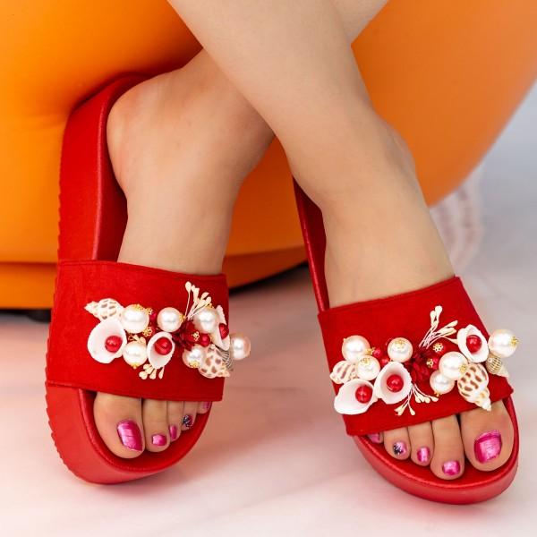 Papuci Dama cu Platforma MM51 Red Small Swan