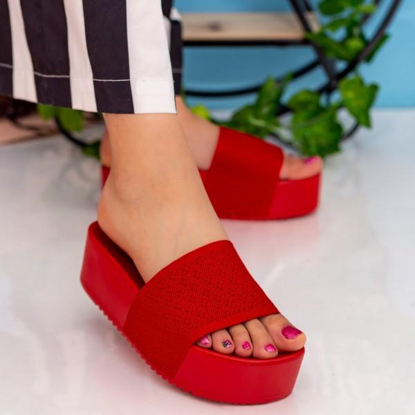 Papuci Dama cu Platforma PM40 Red Small Swan