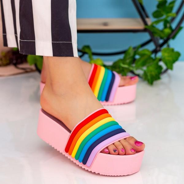 Papuci Dama cu Platforma M49 Pink MyU