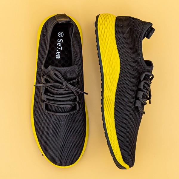 Pantofi Sport Barbati D755 Black-Yellow Mei