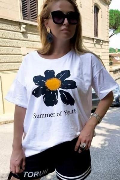 "Tricou Dama ""Summer of Youth"" 30322 Alb Lele"