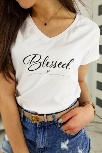 "Tricou Dama ""Blessed"" 8874 Alb Adrom"
