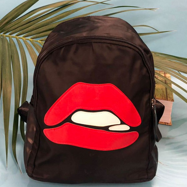 Rucsac Dama 8537-1 Black (F10) Fashion 8537-1 RED LIPS BLACK Fashion