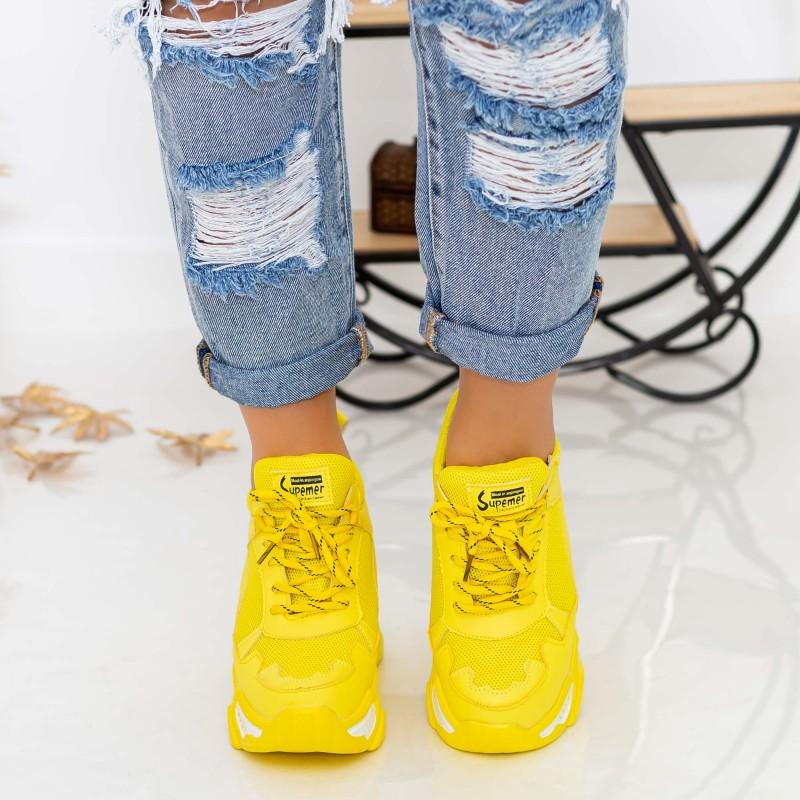 Pantofi Sport Dama cu Platforma 802 PSDP Yellow Mei