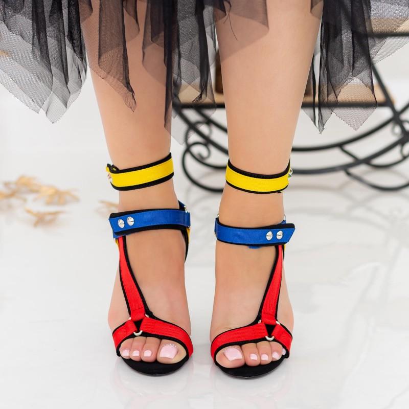 Sandale Dama cu Toc gros XKK235 Multicolour Mei